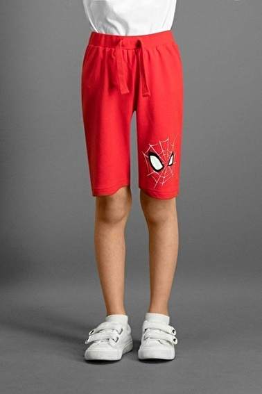 Spider-Man Spider Man Lisanslı Siyah Erkek Çocuk Bermuda Kırmızı